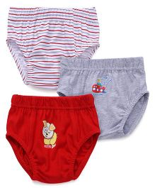 Babyhug Solid Color With Prints And Striped Set Of 3 Briefs - Grey Red White