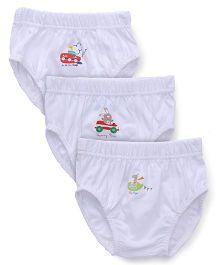 Babyhug Briefs Multi Print Pack Of 3 - White