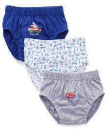 Babyhug Printed Briefs Pack Of 3 - Blue White Grey