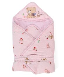Mee Mee Hooded Swaddle Wrapper Bear Embroidery - Pink