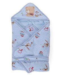 Mee Mee Hooded Swaddle Wrapper Bear Embroidery - Blue