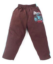 Doreme Full Length Track Pants Motorcycle Print - Brown