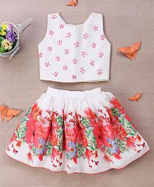 Eiora Floral Print Skirt & Beaded Top Set - Pink & White