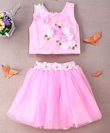 Eiora Partywear Skirt & Top Set - Pink