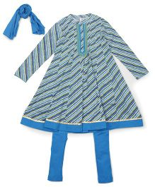 Lil'Posh Full Sleeve Kurti And Churidar With Dupatta - Turquoise Blue