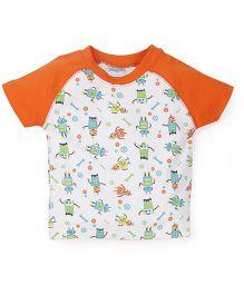 Snuggles Half Sleeves T-Shirt - White Orange