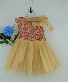 Tiny Toddler One Shoulder Embroidered Party Dress - Brown