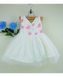 Tiny Toddler Party Dress With Floral Print Detailing - White & Pink