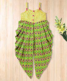 Twisha Zig Zag Print Jumpsuit  -  Yellow & Green