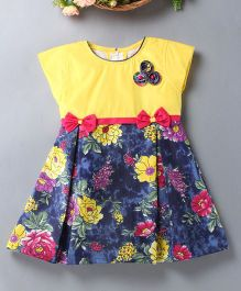 Enfance Floral Print Dress With A Bow - Blue