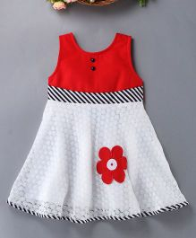 Enfance Cute Brasso Net Dress With A Flower Patch - Red