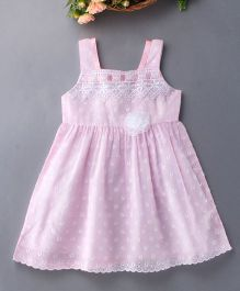 Enfance Cotton Dress With Shiny Flower - Pink