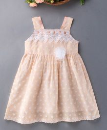 Enfance Cotton Dress With Shiny Flower - Peach