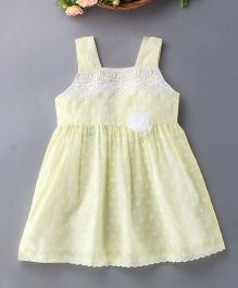 Enfance Cotton Dress With Shiny Flower - Yellow
