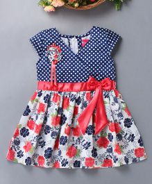 Enfance Polka & Floral Print Dress With Bow - Red