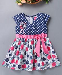 Enfance Polka & Floral Print Dress With Bow - Pink