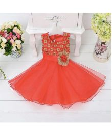 Wonderland Beautiful Floral Applique Flared Dress - Red