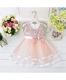 Wonderland Elegant Sequined Dress With Layers - Peach