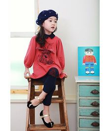 Wonderland Cute Top & Pant Winter Set - Red