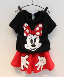 Wonderland Mouse Print Top & Skirt Set - Black & Red