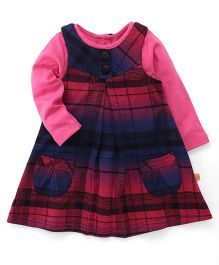 Yellow Duck Winter Wear Check Frock With Inner Tee - Pink