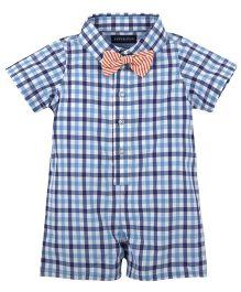 Andy & Evan Shirt Rompers - Navy Blue