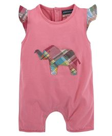Andy & Evan Patch Work Elephant Romper - Pink