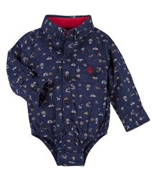 Andy & Evan Shirt Onesies With Plane Applique - Navy Blue