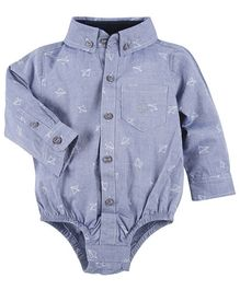 Andy & Evan Shirt Onesies With Plane Applique - Blue