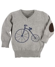 Andy & Evan Sweater With Bicycle Applique - Grey