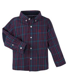 Andy & Evan Check Flannel Shirt. - Navy Blue & Maroon