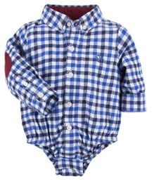 Andy & Evan Check Flannel Shirt Onesies - Blue