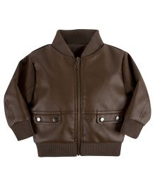 Andy & Evan Faux Leather Jacket - Brown