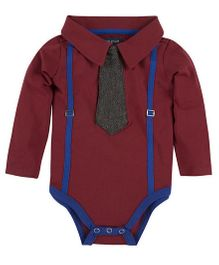 Andy & Evan Suspender Polo Shirt With Tie Onesies - Red