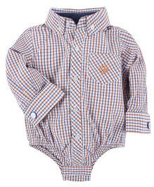 Andy & Evan Bicycle Cuff Link Shirt Onesie - Orange & Navy Blue