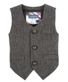 Andy & Evan Herringbone Suit Vest - Grey
