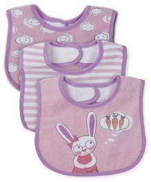 Honey Bunny Velcro Closure Bib Pack Of 3 - Purple & Pink
