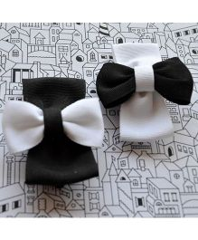 Pretty Ponytails Concrete Jungle Bows Hair Clip - Black & White