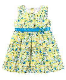 Babyhug Sleeveless Frock Floral Print - Yellow