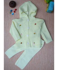 Little Bunnies Woolen Front Button Hooded Top With Leggings Set - Yellow
