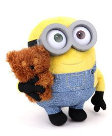 Minions Bob With Bear Large Soft Toy Yellow Blue - 16 cm