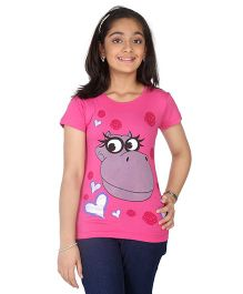 Imagica Half Sleeves T-Shirt Hippy & Heart Print - Pink