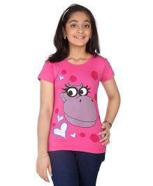 Imagica Half Sleeves T-Shirt Hippy & Heart Print - Pink