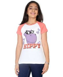 Imagica Raglan T-Shirt Hippy Print - White