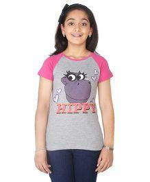Imagica Raglan T-Shirt Hippy Print - Grey