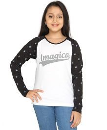 Imagica Raglan Sleeves T-Shirt - White Black