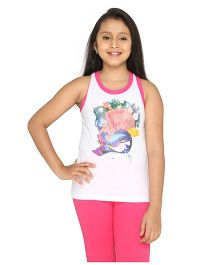 Imagica Sleeveless Mermaid Neera Printed Racer Back Top - White
