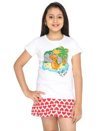 Imagica Half Sleeves Dino Fun Time T-Shirt - White