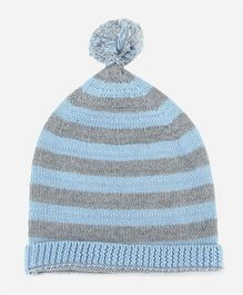 Pluchi Knitted Cotton Baby Cap - Sea Blue & Grey