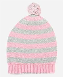 Pluchi Knitted Cotton Baby Cap - Pink & Grey
